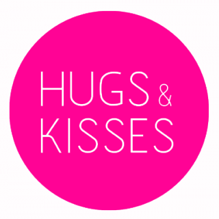 Runde Sticker - HUGS & KISSES (18 Stück) neon pink