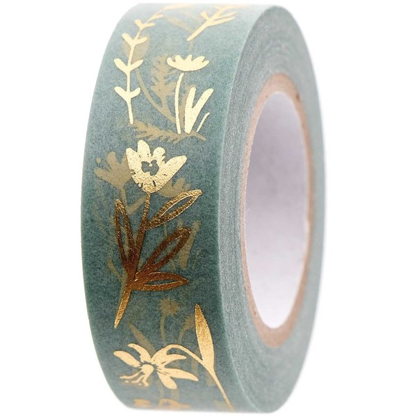 Washi Tape - Blüten Goldfoil & Mint