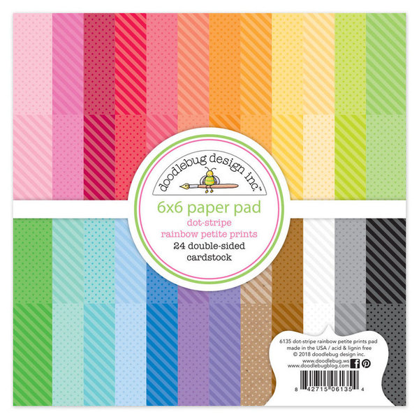 Doodlebug Rainbow Petite Prints - Dots-Stripes